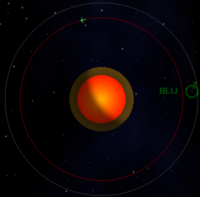 A picture of GOL showing a rocket and a waypoint to BLU.