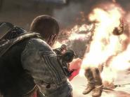Flamethrower burning
