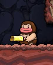 A Caveman carrying a gold ingot