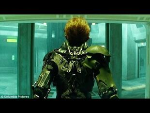 Harry getting into green goblin suit