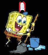 SpongeBob with mop stock art