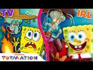 The Sea Bear Attacks Squidward, SpongeBob & Patrick IRL! - SpongeBob Toys - Toymation
