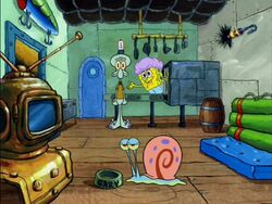 SpongeBob's things and Gary in the Krusty Krab kitchen.