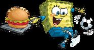 SpongeBob kicks soccer with Spat and Krabby Patty stock art