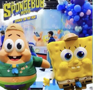 Young SpongeBob and Patrick mascot costume