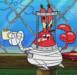 Mr. Krabs bandages and neck brace