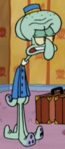 Squidward Wearing a Hotel Uniform