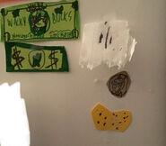 Wacky Buck, Original dollar, Penny, Chip and Used Napkin