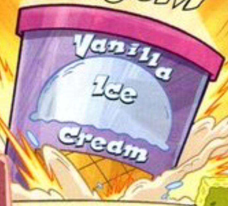 Tub of vanilla ice cream
