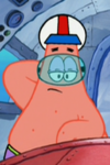 Patrick Wearing a Pilot Helmet