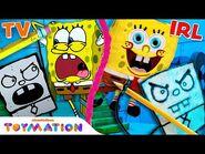 DoodleBob Drawing Comes Alive w- SpongeBob and Patrick Puppets! - Frankendoodle - Toymation