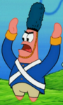 Patrick Wearing a War Outfit