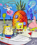SpongeBob-Mrs-Puff-driving-near-pineapple