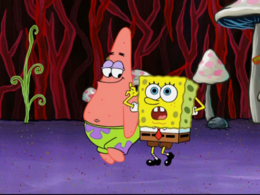 SpongeBob's right arm going behind his body error in A SquarePants Family Vacation.png