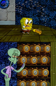 Squidward clock meme template