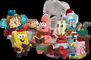 SpongeBob Christmas characters group stock image