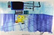 SpongeBob-cel-with-Karen-background-painting