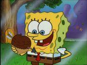 Spongebob holding 1 Acorn