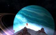 Niebieski gazowy olbrzym widoczny z księżyca