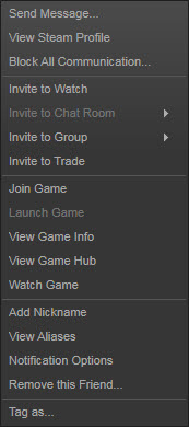 Steam - Serverbrowser, Right-click