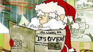 Santa Claus holding a newspaper
