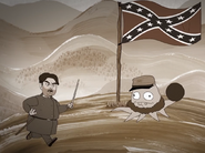 Jefferson Cuyler about to throw a cannonball a soldier