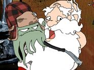 Early holding a razor next to Santa Claus