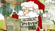 Santa holding a walkie talkie