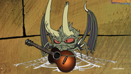 Demon Early holding a guitar and has spider webs upside down