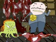 Rusty hitting Sharif with a dead reindeer body