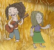 Dakota dancing and male hippie playing a brown banjo