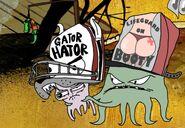 Early holding Herschel wearing a Gator Hater trucker hat
