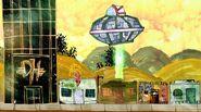 Alien UFO stealing a water dispenser