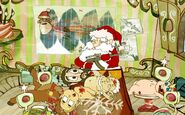 Santa kills all of four of his elves and one of his reindeer