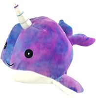 A photo of a tie-dyed narwhal plush.
