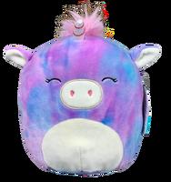 Blue and purple tie-dye unicorn plush.