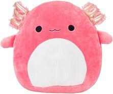 Hot pink axolotl plush with shiny pink gills.