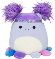 A photo of a blue octopus plush with hair.