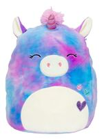 Blue and purple tie-dye unicorn plush. There are three colorful hearts embroidered into her chest.