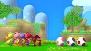 Red Game & Watch, Four Yoshis, and Three Yoshi Eggs in Yoshi's Island in Super Smash Bros Wii U