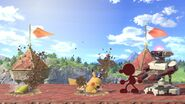 Two Pikachus Buried near Red Game & Watch and Red R.O.B. (Robotic Operating Buddy) in Super Smash Bros Ultimate