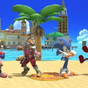 Red Game & Watch, Red Sonic the Hedgehog, Red Fox McCloud, and Red Falco Lombardi in Delfino Plaza in Super Smash Bros Ultimate.jpg