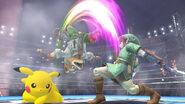 Link Fox and Pikachu Battle in Stadium