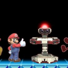 Red Game & Watch, Red R.O.B. (Robotic Operating Buddy), Red Mario, and Red Yoshi in Super Smash Bros Ultimate.jpg