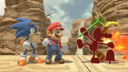 Red Game & Watch, Red Mario, and Red Sonic the Hedgehog in Gerudo Valley in Super Smash Bros Ultimate