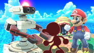Mr. Game & Watch, R.O.B., and Mario are Super Giant in Tortimer Island in Super Smash Bros. Ultimate