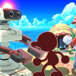 Mr. Game & Watch, R.O.B., and Mario are Super Giant in Tortimer Island in Super Smash Bros. Ultimate.jpg