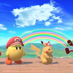 Red Game & Watch, Red Pikachu, Yellow Kirby, and Red Kirby in Rainbow Cruise in Super Smash Bros Ultimate.jpg