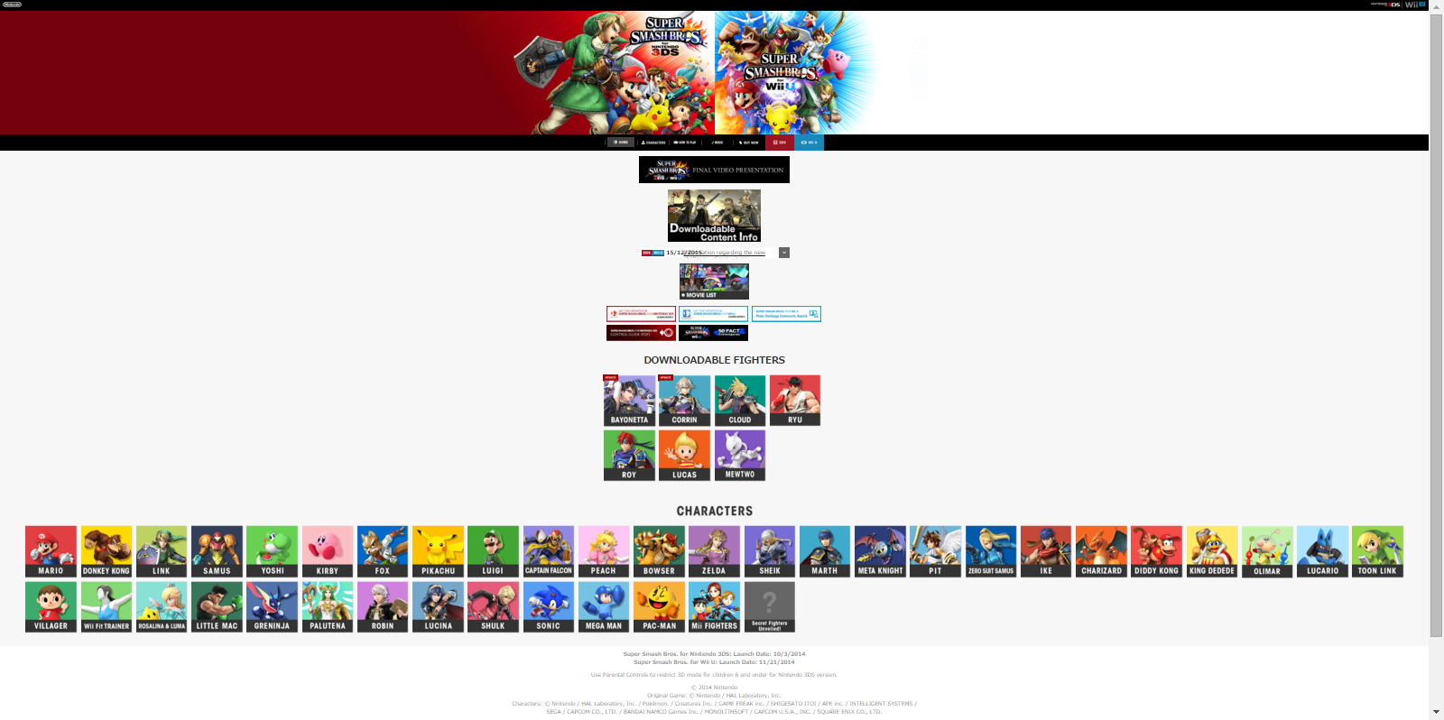 Super Smash Bros. for Nintendo 3DS and Wii U Official Site