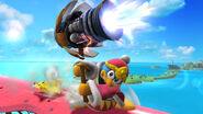 Rey Dedede usando Martillo a Reacción en la Isla de Pilotwings SSB4 (Wii U)